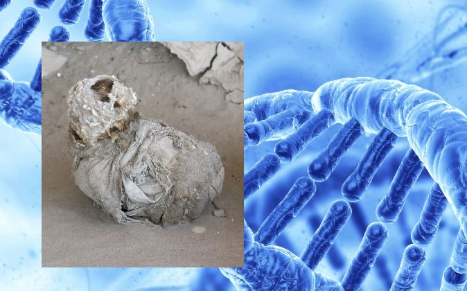 A file photo of a mummy (Zysman/iStock) Background: An illustration of DNA (Svisio/iStock)