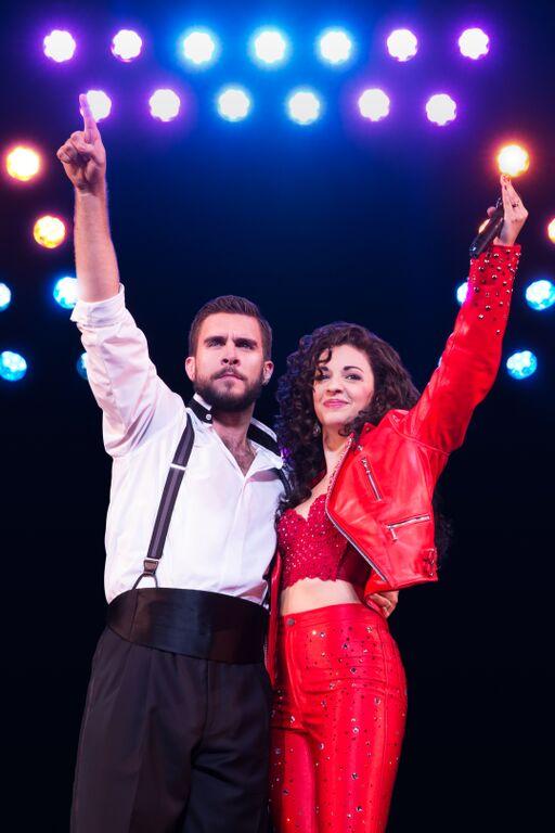 """Josh Segarra and Ana Villafañe as Emilio and Gloria Estefan in """"On Your Feet."""" (Matthew Murphy)"""