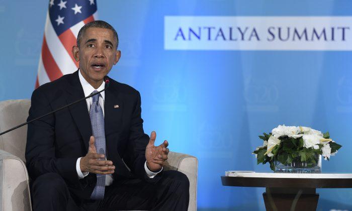 President Barack Obama speaks during a press availability with Turkey''s President Recep Tayyip Erdogan in Antalya, Turkey, Sunday, Nov. 15, 2015. (AP Photo/Susan Walsh)
