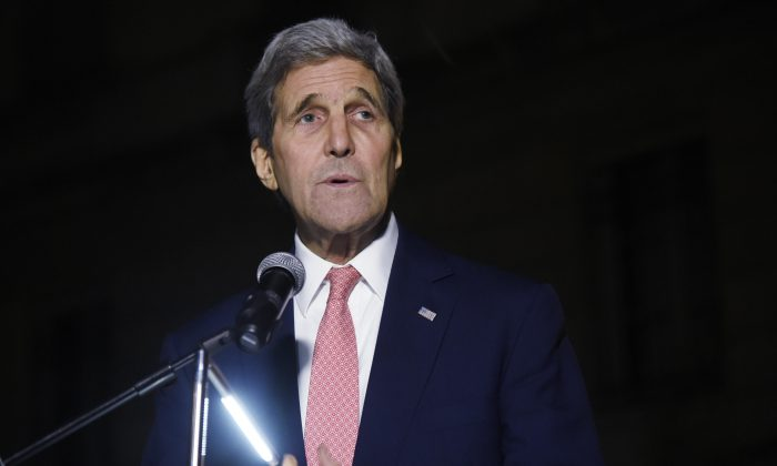 Secretary of State John Kerry delivers a speech at the U.S. Embassy in Paris, Monday, Nov. 16, 2015. John Kerry will meet French President Francois Hollande in Paris early Tuesday, the French presidency said. (Dominique Faget/AP)