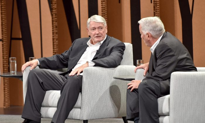 John Malone (L), chairman of Liberty Media and Liberty Global, and CEO of Discovery Holding Company, and Aspen Institute President and CEO Walter Isaacson speak onstage during 'TV, or Not TV' at the Vanity Fair New Establishment Summit at Yerba Buena Center for the Arts on Oct. 7, 2015, in San Francisco, Calif. (Mike Windle/Getty Images for Vanity Fair)