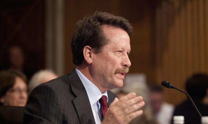 Dr. Robert Califf, President Barack Obama's nominee to lead the Food and Drug Administration (FDA), testifies on Capitol Hill in Washington, D.C., Tuesday, Nov. 17, 2015, before the Senate Health, Education, Labor and Pensions Committee hearing on his nomination. (AP Photo/Pablo Martinez Monsivais)