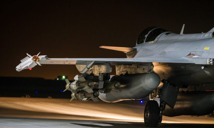 A French army Rafale jet on the tarmac of an undisclosed air base Nov. 17, 2015, as part of France's Operation Chammal launched in September 2015 in support of the U.S.-led coalition against ISIS. (Sebastien Dupont/ECPAD via AP)