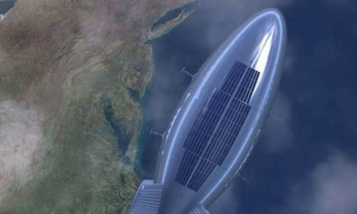 A concept image shows the Yuangmeng (Dream) high-altitude airship, currently being developed by the Chinese regime. The airship appears to be based on an abandoned U.S. defense project. (People's Daily)