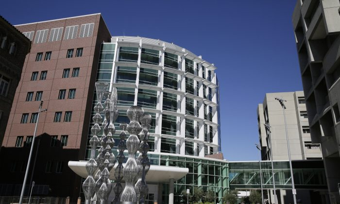 This photo taken Friday, Nov. 13, 2015, shows an exterior view of Zuckerberg San Francisco General Hospital in San Francisco.  (AP Photo/Eric Risberg)