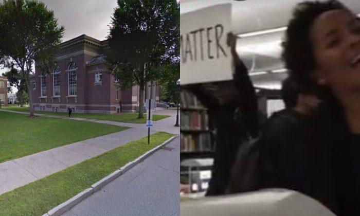Dartmouth College and the protesters inside the university's library (Screenshot - Campus Reform and The Epoch Times screenshot)