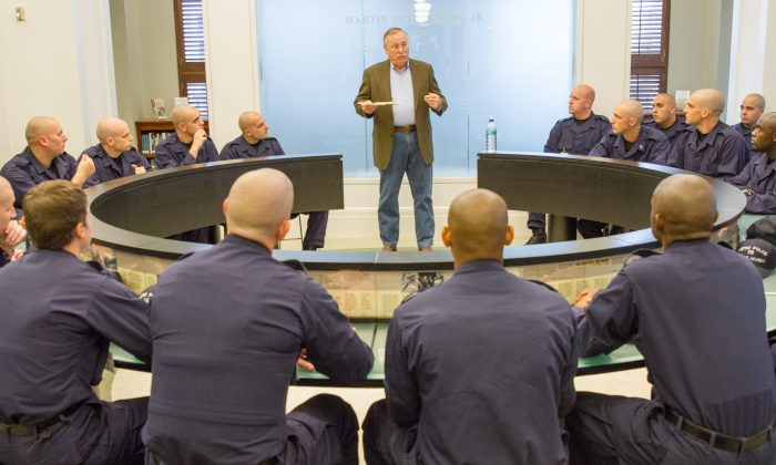 In this Oct. 1, 2015, photo, Nashville Police Chief Steve Anderson addresses the recruits police recruits during a program at the downtown library on the history of civil rights in Nashville, Tenn. (AP Photo/Erik Schelzig)