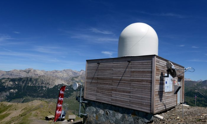 A hydro-meteorological radar of weather forecast service Meteo-France in Vars, French Alps, on June 26, 2015. (Jean-Pierre Clatot/AFP/Getty Images)