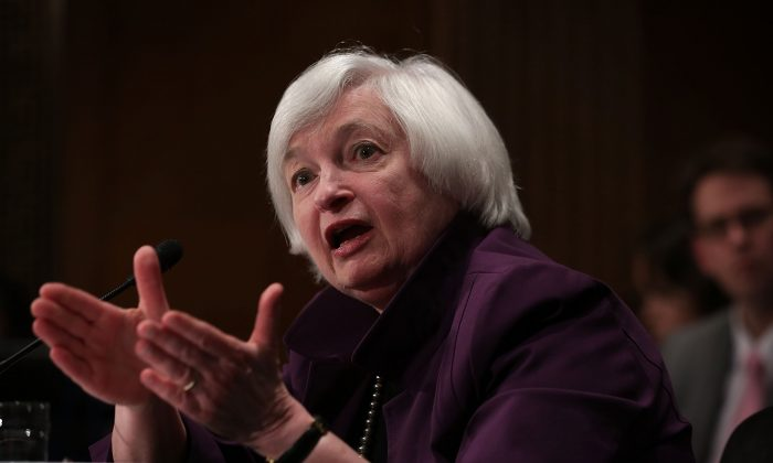 Federal Reserve Board Chair Janet Yellen testifies during a hearing before Senate Banking, Housing and Urban Affairs Committee on Capitol Hill, in Washington, D.C., on July 16, 2015. (Alex Wong/Getty Images)