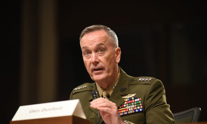 Joint Chiefs Chairman Gen. Joseph Dunford Jr. testifies on Capitol Hill in Washington, D.C., on Oct. 27, 2015. (AP Photo/Kevin Wolf)
