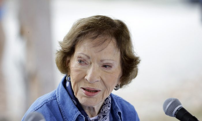 Former first lady Rosalynn Carter at a Habitat for Humanity building site in Memphis, Tenn., on Nov. 2, 2015. She has worked to improve mental healthcare delivery for decades, and the Carter Center sponsored a program to train Liberian nurses to deliver mental healthcare. (AP Photo/Mark Humphrey)