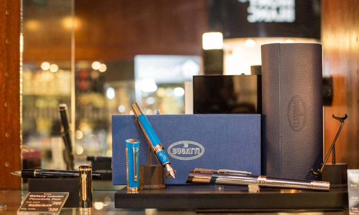 Bugatti pens are for sale at the Fountain Pen Hospital in New York's Tribeca neighborhood. (Benjamin Chasteen/Epoch Times)