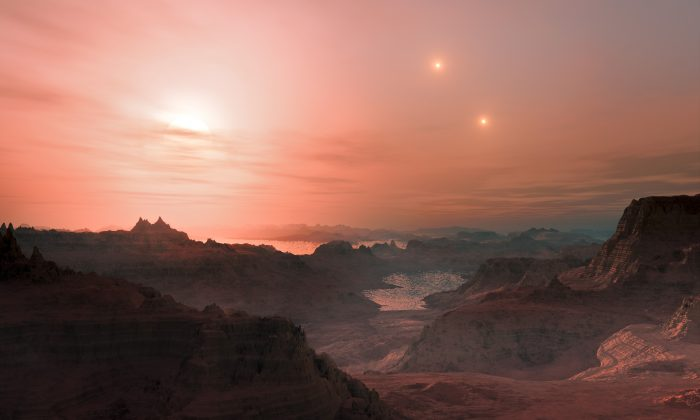 Gliese Cc: Artist's impression of sunset on one of the most Earth-like exoplanets. (ESO/L. Calçada/wikimedia, CC BY-4.0)