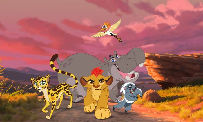 """This photo provided by Disney Junior shows Fuli, Kion, Ono, Beshte, and Bunga  in a scene from """"The Lion Guard: Return of the Roar,"""" a primetime television movie event premiering Sunday, Nov. 22, 2015, at 7:00 p.m., ET/PT on the Disney Channel. (Disney Junior via AP)"""