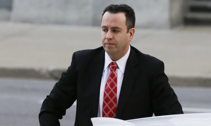 Former Subway pitchman Jared Fogle arrives at the federal courthouse in Indianapolis, Thursday, Nov. 19, 2015. (AP Photo/Michael Conroy)