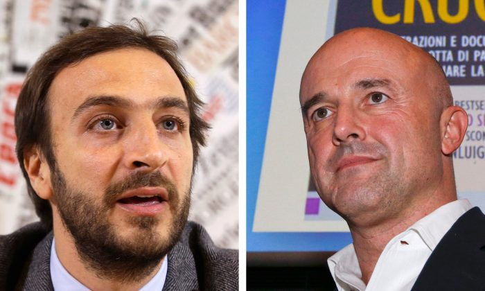 "This combo of file photos shows journalists Emiliano Fittipaldi (L) during a presser in Rome, on Tuesday, Nov. 17, 2015 and Gianluigi Nuzzi during the presentation of his new book ""Via Crucis"" (""Merchants in the Temple"", in the English edition) in Milan on Monday, Nov. 16, 2015. A Vatican judge has indicted five people Saturday, Nov. 21, 2015, including the two journalists Gianluigi Nuzzi, Emiliano Fittipaldi, and a high-ranking Vatican monsignor Lucio Vallejo Balda, in the latest scandal involving leaked documents cited in recent books alleging financial malfeasance in the Roman Catholic Church bureaucracy. (AP Photo/Gregorio Borgia, Luca Bruno)"