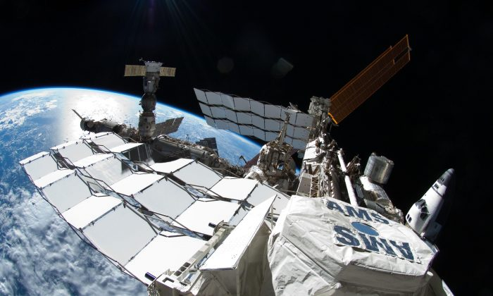 Alpha Magnetic Spectrometer-02, shown attached to the International Space Station. (NASA)