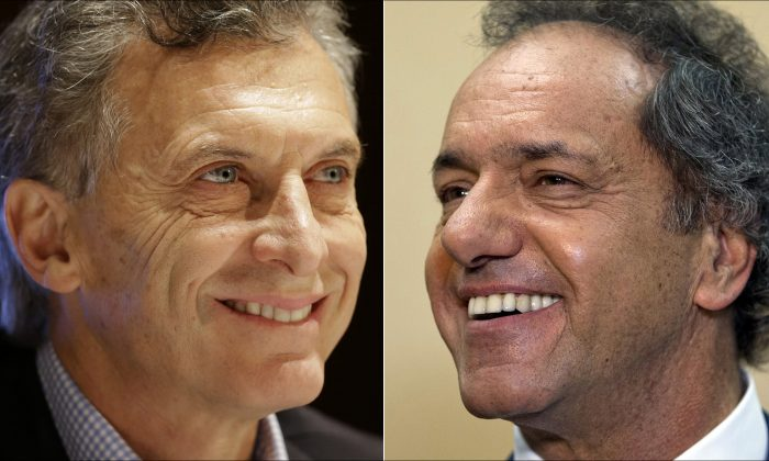 Opposition presidential candidate Mauricio Macri (L) at a city police ceremony on Oct. 28, 2015, and ruling party presidential candidate Daniel Scioli at a press conference on Aug. 10, 2015, both in Buenos Aires, Argentina. (AP Photo/Victor Caivano, Natacha Pisarenko)