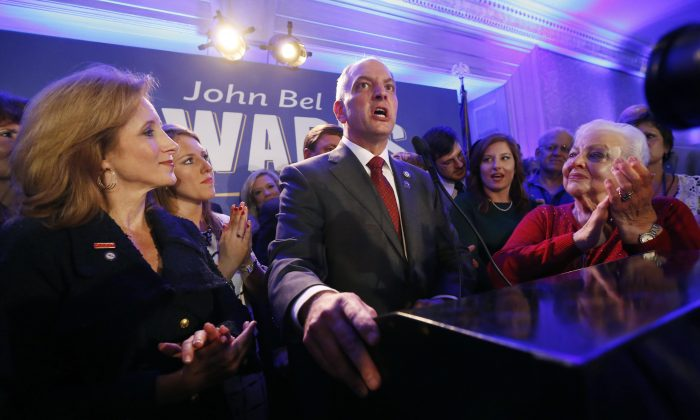 Louisiana Gov.-elect John Bel Edwards addresses supporters at his election night watch party in New Orleans, Saturday, Nov. 21, 2015. (AP Photo/Gerald Herbert)