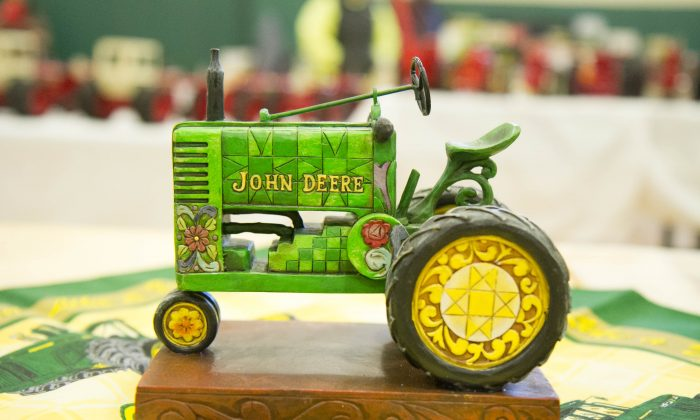 A whimsical tractor in a John Deere merchandise display by Linda Guiton at the Orange County Farm Toy Show in Middletown on Nov. 21, 2015. (Holly Kellum/Epoch Times)