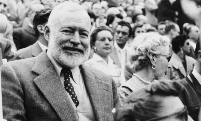 American writer Ernest Hemingway and his wife Mary attend a bullfight in Madrid, Spain, on Oct. 9, 1956. (AP Photo)