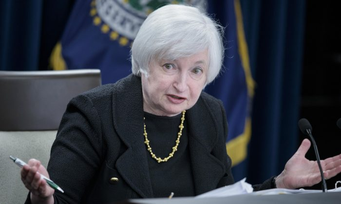 Federal Reserve Chair Janet Yellen speaks at the Fed's Wilson Conference Center in Washington, D.C., on Sept. 17, 2015. (Brendan Smialowski/AFP/Getty Images)