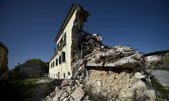 This picture shows damaged building following the 2009 L'Aquila earthquake on October 22, 2012 in the neighboring village of Onna. (FILIPPO MONTEFORTE/AFP/Getty Images)