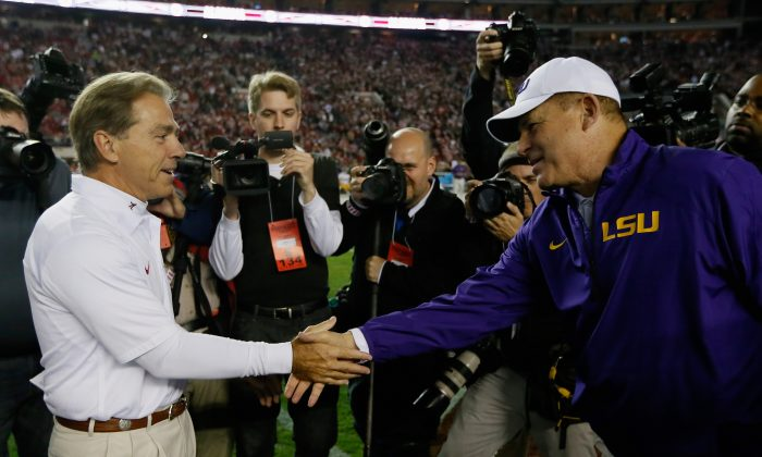 Nick Saban of the Alabama Crimson Tide and Les Miles of the LSU Tigers have won five national titles between them. (Kevin C. Cox/Getty Images)