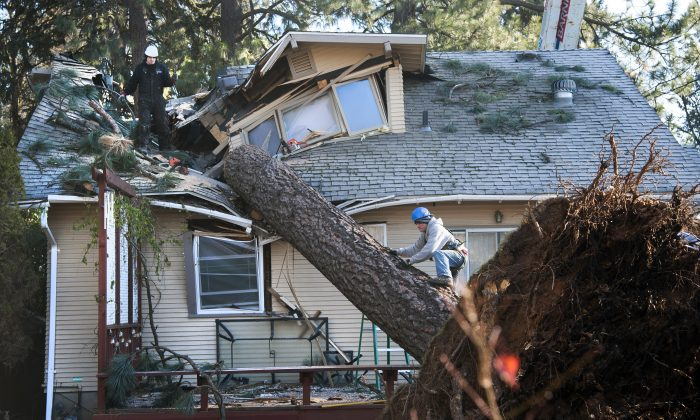 Jake Hines, left, and Ross Rukke, of Capstone Construction, work to remove a fallen tree in Spokane, Wash., after deadly storms swept through the state leaving many without power on Nov. 21, 2015. (Dan Pelle/The Spokesman-Review, via AP)