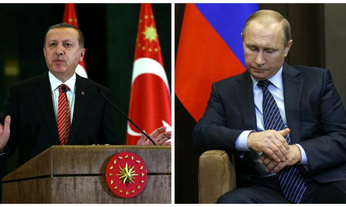 Turkish President Recep Tayyip Erdogan (L) and Russian President Vladimir Putin (R). (AP Photos)