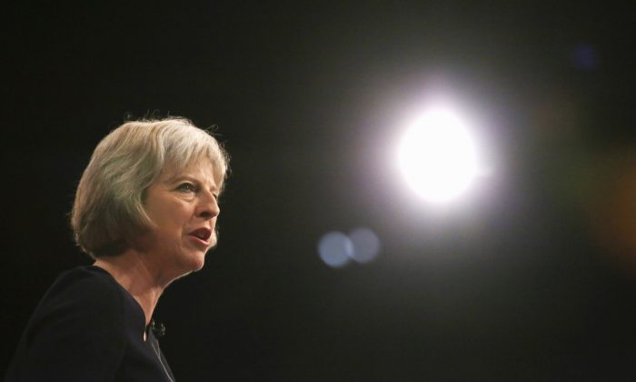 Home Secretary Theresa May delivers her keynote speech to delegates during the Conservative Party Conference on October 6, 2015 in Manchester, England. (Christopher Furlong/Getty Images)