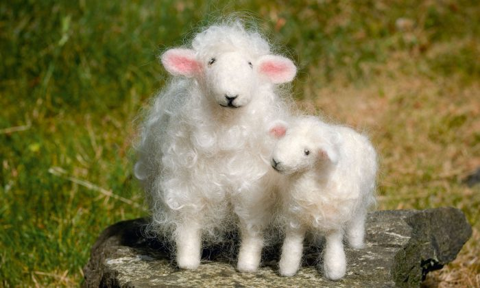 "Needle-felted sheep from the book ""Wool Pets."" Needle felting is an easy craft to learn, and crafters can fashion cute critters for the holiday dinner table or to give as gifts. (Kevin Sharp/Wool Pets and Creative Publishing International via AP)"