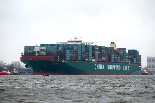Cargo ship CSCL Globe of the China Shipping Group