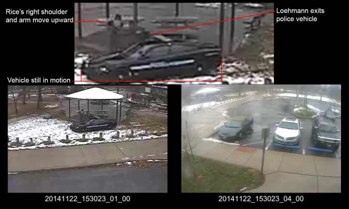 This combination of still images taken from a surveillance video and released Saturday, Nov. 28, 2015, by the Cuyahoga County Prosecutor's Office, shows Cleveland police officers arriving at Cudell Park on a report of a man with a gun. Twelve-year-old Tamir Rice was fatally shot by Cleveland police officer Timothy Loehmann, Nov. 22, 2014. (Cuyahoga County Prosecutor's Office via AP)