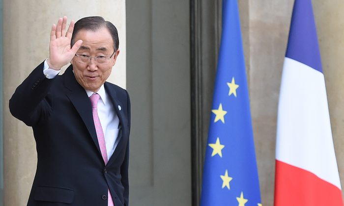 Secretary-General of the United Nations Ban Ki-moon leaves following a meeting with the French President on Nov. 29, 2015, at the Elysee palace in Paris. Some 150 leaders including will attend the start on Nov. 30 of the U.N. conference on climate change, tasked with reaching the first truly universal climate pact. (Stephane de Sakutin/AFP/Getty Images)