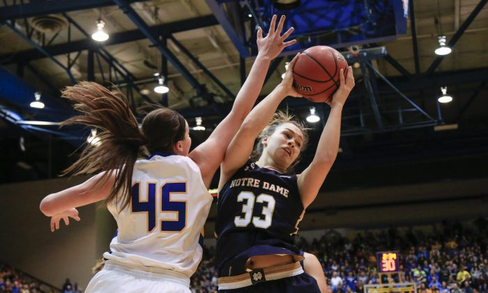 Notre Dame forward Kathryn Westbeld (33) is defended by South Dakota State forward Ellie Thompson (45) during the first half of an NCAA college basketball game in Brookings, S.D., Saturday, Nov. 21, 2015. (AP Photo/Nati Harnik)