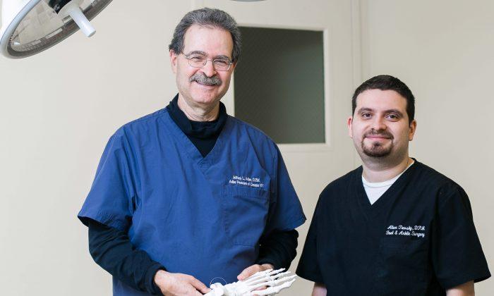Podiatrist Dr. Jeffrey Adler and surgeon Dr. Alex Tievsky, at Adler Footcare located in Midtown Manhattan on Nov. 20. (Samira Bouaou/Epoch Times)
