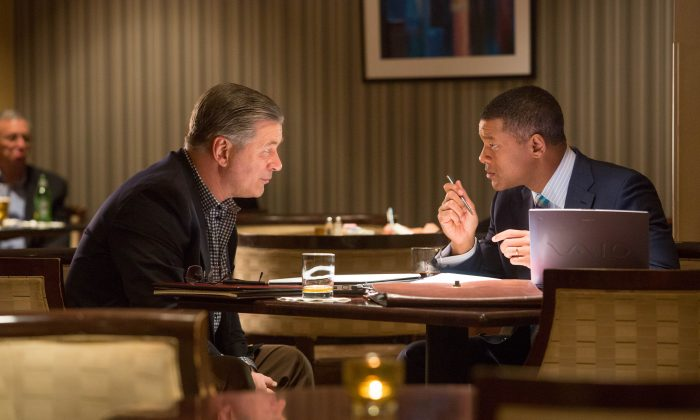 """(L–R) Alec Baldwin and Will Smith star in Columbia Pictures' """"Concussion. (© 2015 Columbia Pictures Industries, Inc.)"""