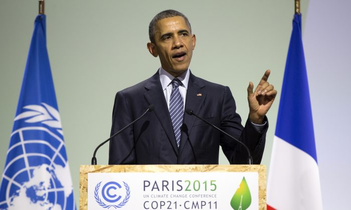 President Barack Obama delivers remarks during the COP21, U.N. Climate Change Conference, in Le Bourget, outside Paris, on Monday, Nov. 30, 2015. (AP Photo/Evan Vucci)
