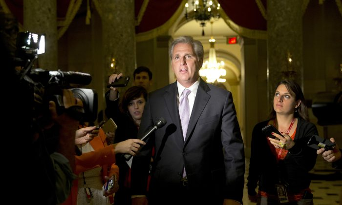House Majority Leader Kevin McCarthy (R-Calif.) talks to media on Capitol Hill in Washington, D.C., on Oct. 21, 2015. McCarthy is giving no indication that last week's fatal shootings at a Planned Parenthood clinic in Colorado will affect a House probe of the group for providing fetal tissue to researchers. (AP Photo/Carolyn Kaster)