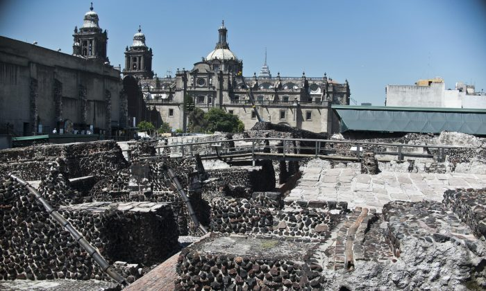 General view of the Templo Mayor archaeological area in Mexico City, on Oct. 05 2012. (Ronaldo Schemidt/AFP/Getty Images)