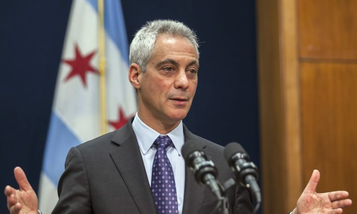 Chicago Mayor Rahm Emanuel at a news conference in Chicago, Tuesday, Dec. 1, 2015, where he announced the firing Chicago Police Superintendent Garry McCarthy and discussed the creation of a newly created task force on police accountability. (Ashlee Rezin/Sun-Times Media via AP)