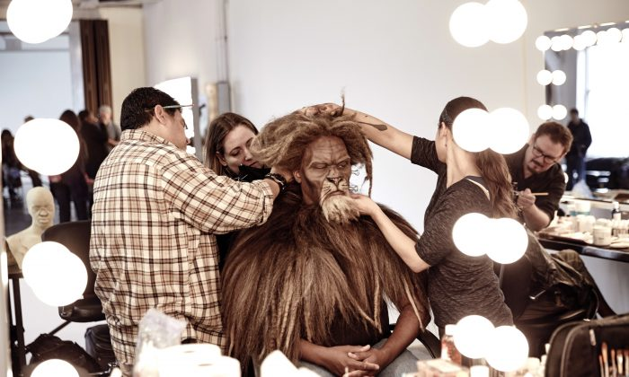 "In this Oct. 4, 2015 photo, David Alan Grier is fitted for his role as The Cowardly Lion in ""The Wiz Live!"" in New York. (Paul Gilmore/NBC via AP)"