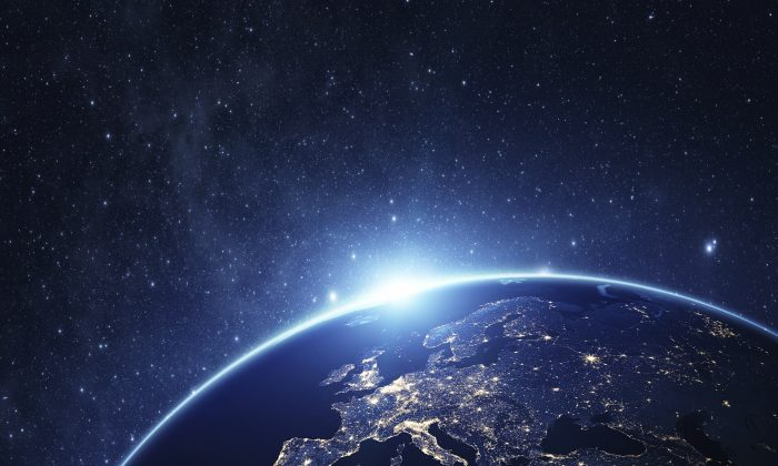 Planet earth from the space at night . Some elements of this image furnished by NASA.