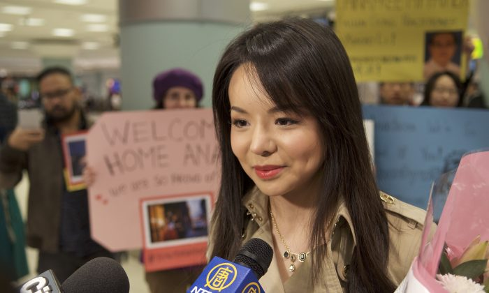 Miss World Canada Anastasia Lin returns to Canada after a week in Hong Kong and speaks to reporters at the Toronto Pearson International Airport on Dec. 3, 2015. (Matthew Little/Epoch Times)