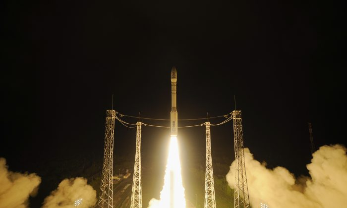 This  picture taken with remote point  1 camera and  provided by the  European Space Agency, ESA, shows the liftoff of Vega VV06 rocket  carrying LISA Pathfinder on Thursday Dec. 3, 2015 from Europe's Spaceport, Kourou French Guiana. (Stephane Corvaja/ESA via AP)