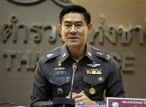 National police deputy spokesman Col. Songpol Wattanachai addresses a press conference in Bangkok, Thailand, Friday, Dec. 4, 2015. Thai police say they have received a warning from Russia's state security agency that 10 Syrians who may be linked to Islamic State have entered the country with the intention of staging attacks on targets associated with Russia and other foes of the terrorist group. (AP Photo/Mark Baker)