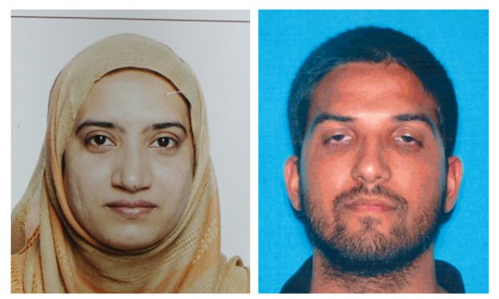 This undated combination of photos provided by the FBI, left, and the California Department of Motor Vehicles shows Tashfeen Malik, left, and Syed Farook, who committed the mass murder in San Bernardino, California. (FBI, left, and California Department of Motor Vehicles via AP)