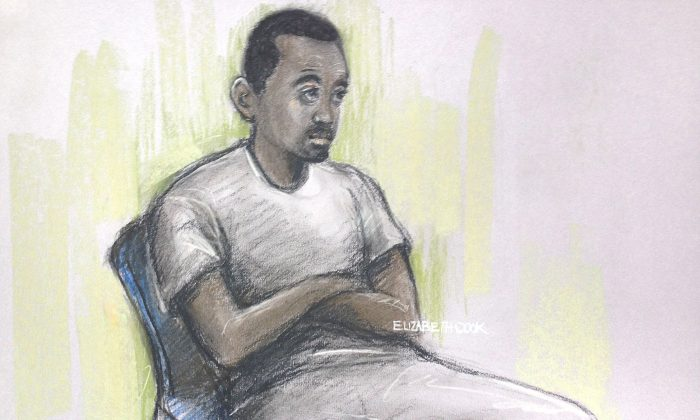 This is a sketch by court artist sketch by Elizabeth Cook, of Muhaydin Mire appearing at Westminster Magistrates' Court, London Monday Dec. 7, 2015. (Elizabeth Cook/PA via AP)