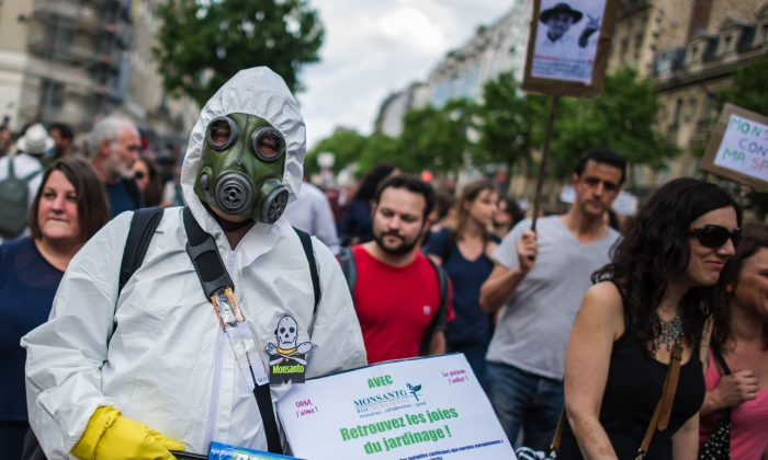 Protesters participate, during a World March Against Monsanto, in Paris, France, during a global day of action against the agricultural biotechnology company, in Paris, Saturday, May 23 2015. (AP Photo/Kamil Zihnioglu)